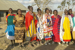 Village people singing at sunset in village of Nairobi National Park, Nairobi, Kenya, Africa royalty free stock photo