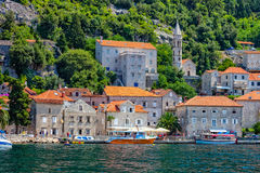 Village of Perast on the bay of Kotor Stock Image
