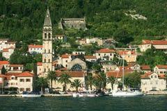 Village Perast at the bay of Kotor, Montenegro Stock Image
