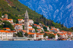 Village Perast on coast of Boka Kotor bay - Montenegro. Nature and architecture background Royalty Free Stock Photography