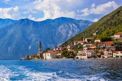 Village Perast on coast of Boka Kotor bay - Montenegro Stock Photo