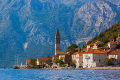 Village Perast on coast of Boka Kotor bay - Montenegro. Nature and architecture background Royalty Free Stock Photos