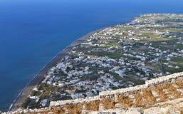 Village of Perissa at Santorini island Stock Photos