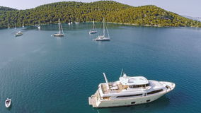 Village Polace on island Mljet, aerial stock video footage