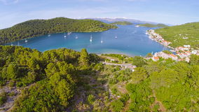 Village Polace on island Mljet, aerial Stock Images