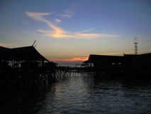 Village on poles in the sea in Malaysia Stock Photography