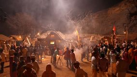 Village poor people silhouette night stock video footage