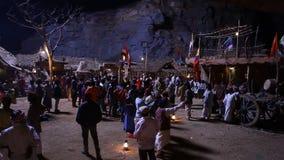 Village poor people silhouette night stock footage