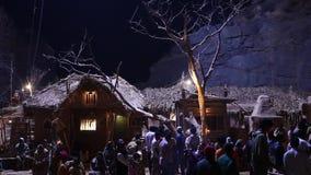 Village poor people silhouette night stock video