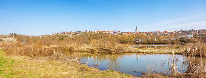 Village of Poppenweiler panorama - skyline with church Stock Image