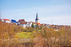 Village of Poppenweiler - skyline with church Royalty Free Stock Photos