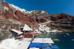Village and Port of Amoudi in Santorini Greece Royalty Free Stock Images