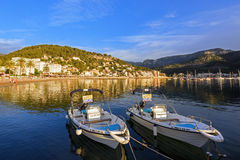 Village Port de Soller viewed from the boat dock during sunset. Island Majorca, Spain. Stock Images