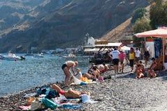 Village with port on the island Thirassia, Santorini, Greece. royalty free stock photo