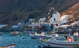 Village with port on the island Thirassia, Santorini, Greece. royalty free stock photos