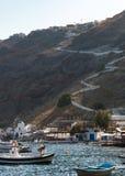 Village with port on the island Thirassia, Santorini, Greece. stock photo