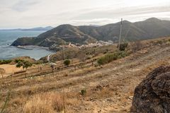 Through the village of Portbou on the Costa Brava. Girona Royalty Free Stock Photo