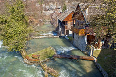 Village of Rastoke on river cascade Royalty Free Stock Images