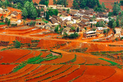Village on red field. Village on the red field in Yunnan Province, southwest of China stock photography