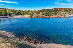 Village Among Red Rocks of Esterel Massif-France Stock Image