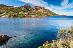 Village Among Red Rocks of Esterel Massif-France Royalty Free Stock Photo