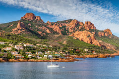 Village Among Red Rocks of Esterel Massif-France Royalty Free Stock Photography