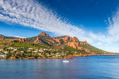 Village Among Red Rocks of Esterel Massif-France Royalty Free Stock Photos