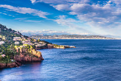 Village On The Red Rocks of Esterel Massif-France Royalty Free Stock Image