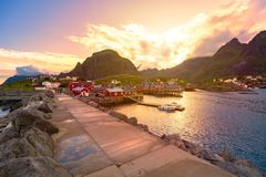 Village on Lofoten islands in Norway, Europe Stock Photography