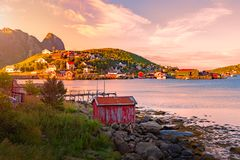 Village on Lofoten islands in Norway, Europe Royalty Free Stock Photography