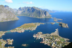The village of Reine  from of Reinebringen Royalty Free Stock Images
