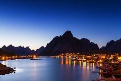 Village of Reine at twilight. Lofoten, Norway Stock Photo