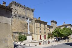 Village of Remoulin in France Stock Photo