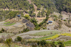 Village with rice terraces Royalty Free Stock Photography
