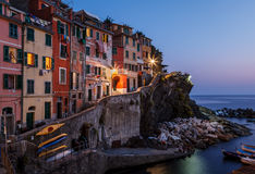 Village of Riomaggiore in Cinque Terre Illuminated at Night Stock Images