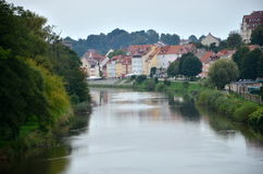 Village on the river. Seen from a local bridge on the German-Polish border Stock Images