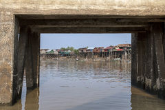 Village on the river. Small village on the river in Cambodia Royalty Free Stock Images