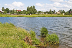 Village on the river. In summer time, Russia Royalty Free Stock Images