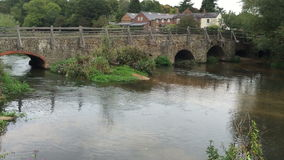 Village river. A tranquil river scene in a Hampshire village UK stock footage