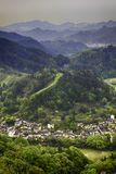 Village in a river valley Stock Photography