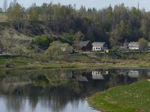 Village on the riverbank of Volga. A little village on the riverbank of Volga in Staritsa town royalty free stock photo