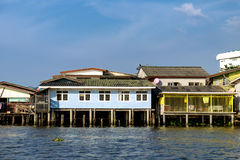 Village riverfront in Bangkok Thailand. Old Chao Phraya River Thai traditional houses, village riverfront in Bangkok Thailand Stock Image