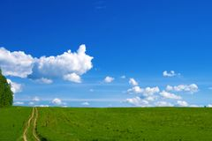Village road on the edge of a green field and blue sky with white clouds.  stock photo