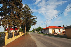 Village road with houses in Slovakia Stock Images