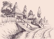 Village road, small old houses sketch Royalty Free Stock Photography