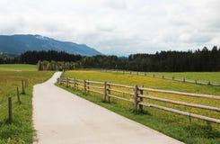 Village road. Walking near the German Alpine mountains Stock Photo