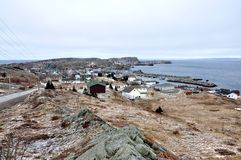 Village on rugged coastline Royalty Free Stock Photos
