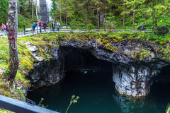 Village Ruskeala, Sortavala, Karelia, Russia, August 14, 2016: Mountain Park Ruskeala, underground lake. Village Ruskeala, Sortavala, Republic of Karelia, Russia Royalty Free Stock Images