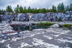 Village Ruskeala, Sortavala, Republic of Karelia, Russia, August 14, 2016: Mountain Park, Italian quarry Stock Image