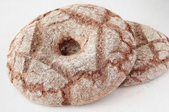 Village rye bread in the shape of a circle with a hole Royalty Free Stock Images